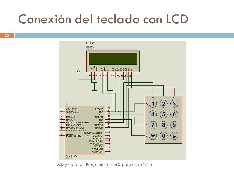 Conexión del teclado con LCD LCD y teclado - Programación en C para electrónica 23