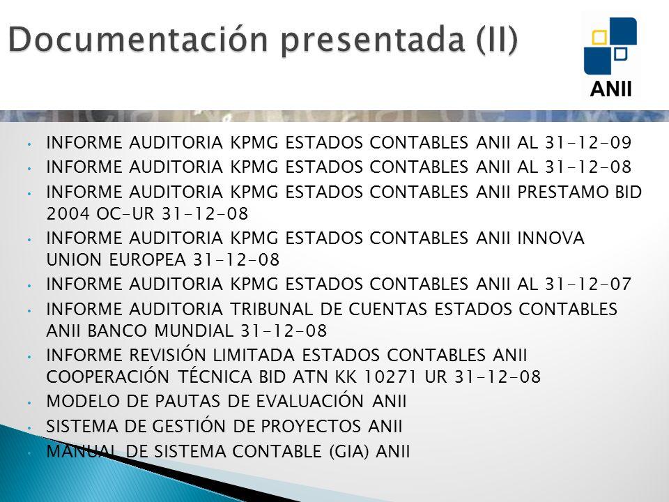 INFORME AUDITORIA KPMG ESTADOS CONTABLES ANII AL 31-12-09 INFORME AUDITORIA KPMG ESTADOS CONTABLES ANII AL 31-12-08 INFORME AUDITORIA KPMG ESTADOS CON