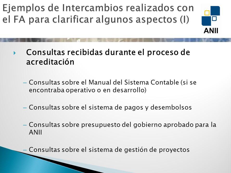 Consultas recibidas durante el proceso de acreditación – Consultas sobre el Manual del Sistema Contable (si se encontraba operativo o en desarrollo) –