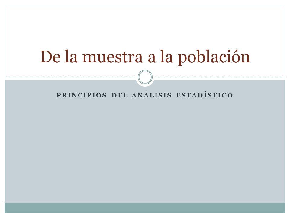 PRINCIPIOS DEL ANÁLISIS ESTADÍSTICO De la muestra a la población