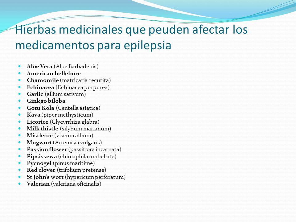 Hierbas medicinales que peuden afectar los medicamentos para epilepsia Aloe Vera (Aloe Barbadenis) American hellebore Chamomile (matricaria recutita)