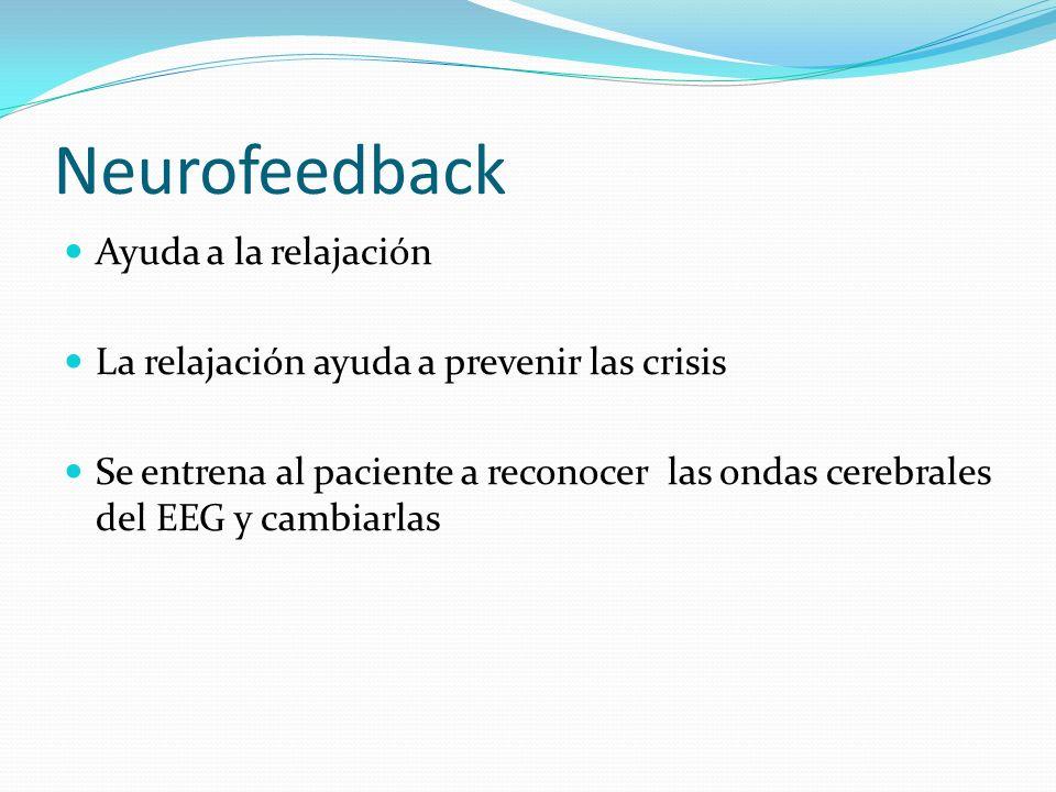 Neurofeedback Ayuda a la relajación La relajación ayuda a prevenir las crisis Se entrena al paciente a reconocer las ondas cerebrales del EEG y cambia