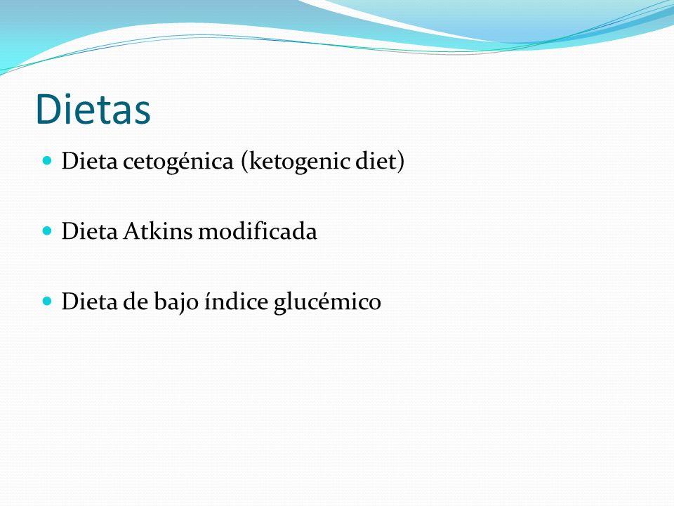 Dietas Dieta cetogénica (ketogenic diet) Dieta Atkins modificada Dieta de bajo índice glucémico