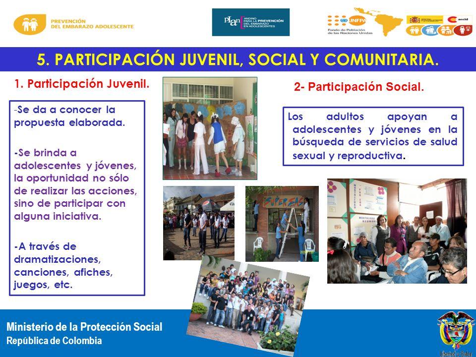 Ministerio de la Protección Social República de Colombia 5. PARTICIPACIÓN JUVENIL, SOCIAL Y COMUNITARIA. - Se da a conocer la propuesta elaborada. -Se