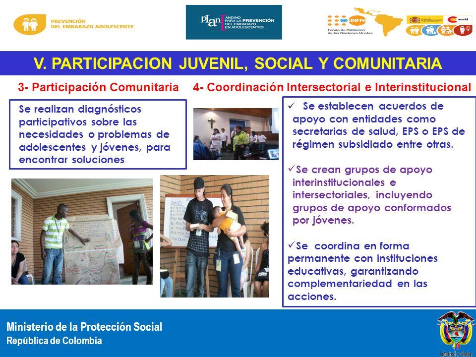 Ministerio de la Protección Social República de Colombia V. PARTICIPACION JUVENIL, SOCIAL Y COMUNITARIA Se realizan diagnósticos participativos sobre