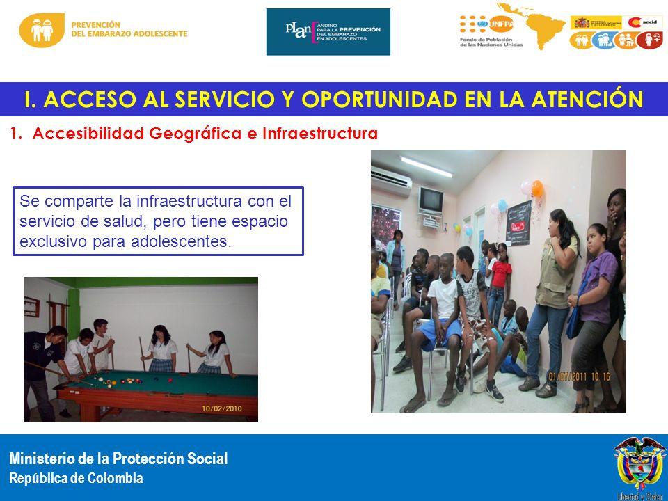 Ministerio de la Protección Social República de Colombia I. ACCESO AL SERVICIO Y OPORTUNIDAD EN LA ATENCIÓN 1. Accesibilidad Geográfica e Infraestruct