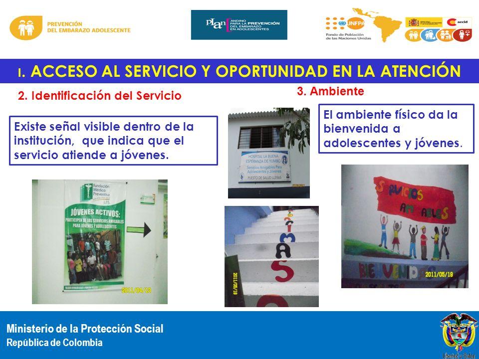 Ministerio de la Protección Social República de Colombia I. ACCESO AL SERVICIO Y OPORTUNIDAD EN LA ATENCIÓN 2. Identificación del Servicio Existe seña