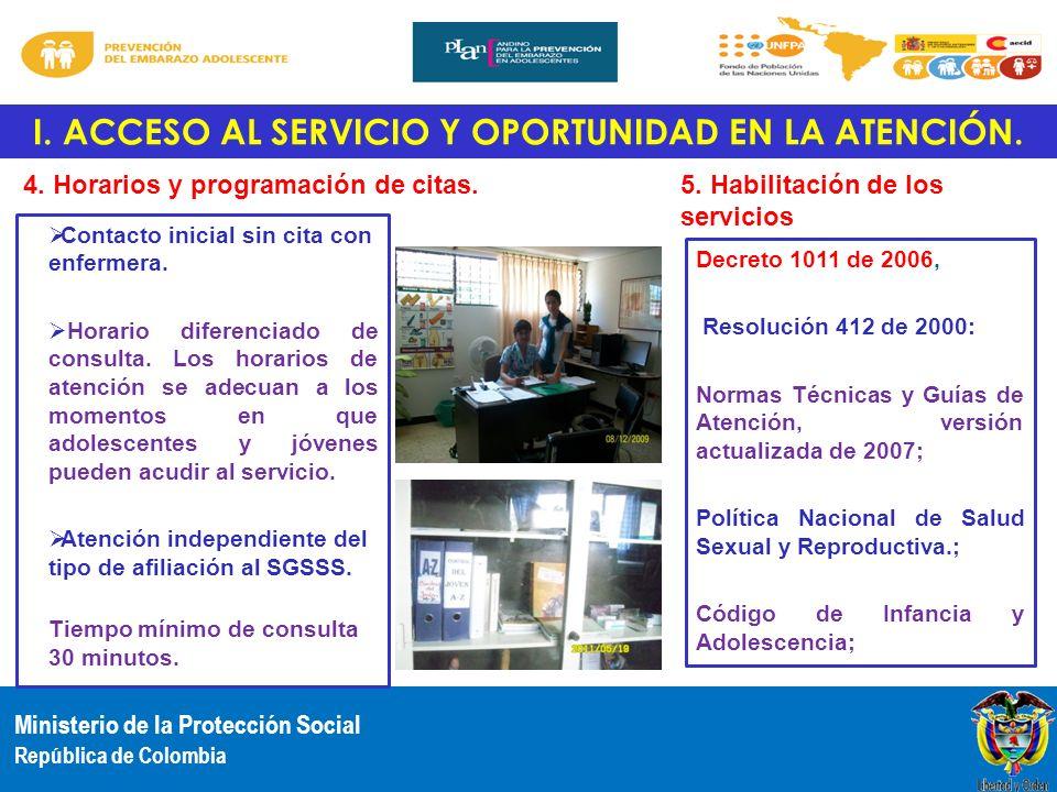 Ministerio de la Protección Social República de Colombia I. ACCESO AL SERVICIO Y OPORTUNIDAD EN LA ATENCIÓN. 4. Horarios y programación de citas. Cont