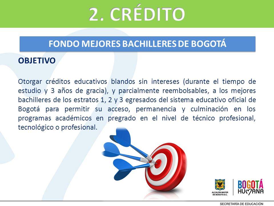 FONDO MEJORES BACHILLERES DE BOGOTÁ OBJETIVO Otorgar créditos educativos blandos sin intereses (durante el tiempo de estudio y 3 años de gracia), y pa