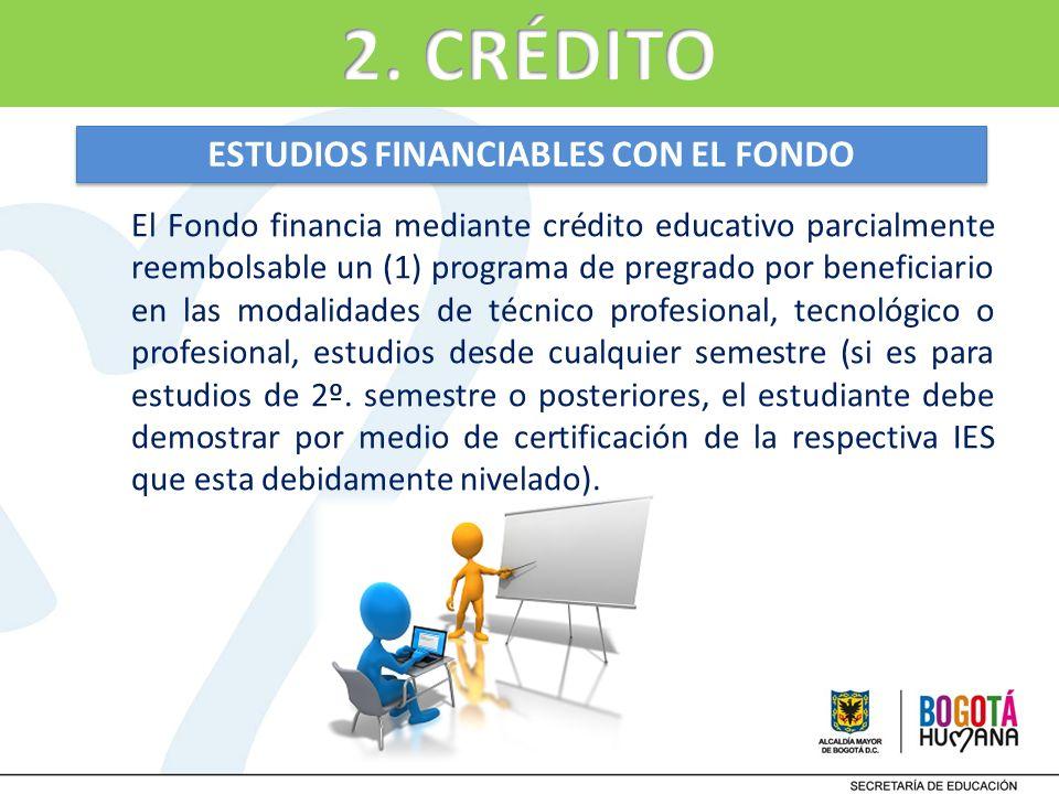 El Fondo financia mediante crédito educativo parcialmente reembolsable un (1) programa de pregrado por beneficiario en las modalidades de técnico prof