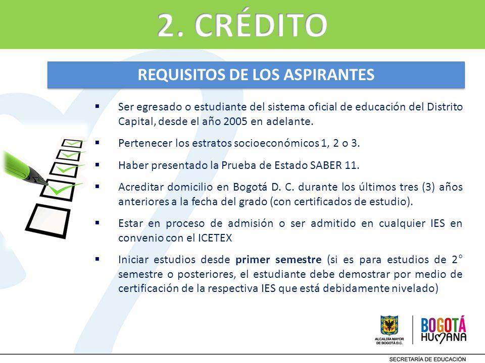 Ser egresado o estudiante del sistema oficial de educación del Distrito Capital, desde el año 2005 en adelante. Pertenecer los estratos socioeconómico