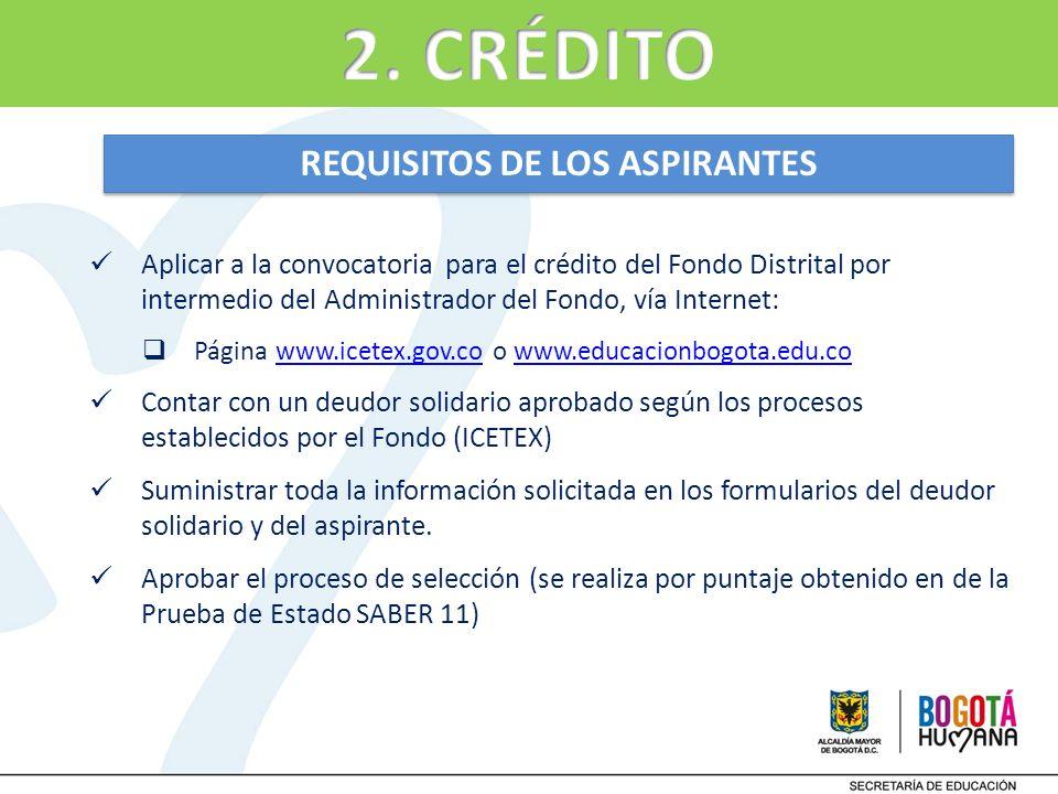 Aplicar a la convocatoria para el crédito del Fondo Distrital por intermedio del Administrador del Fondo, vía Internet: Página www.icetex.gov.co o www