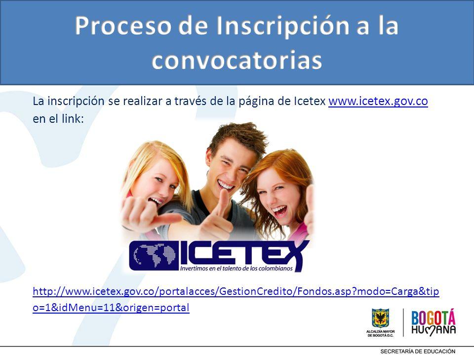 La inscripción se realizar a través de la página de Icetex www.icetex.gov.co en el link:www.icetex.gov.co http://www.icetex.gov.co/portalacces/Gestion