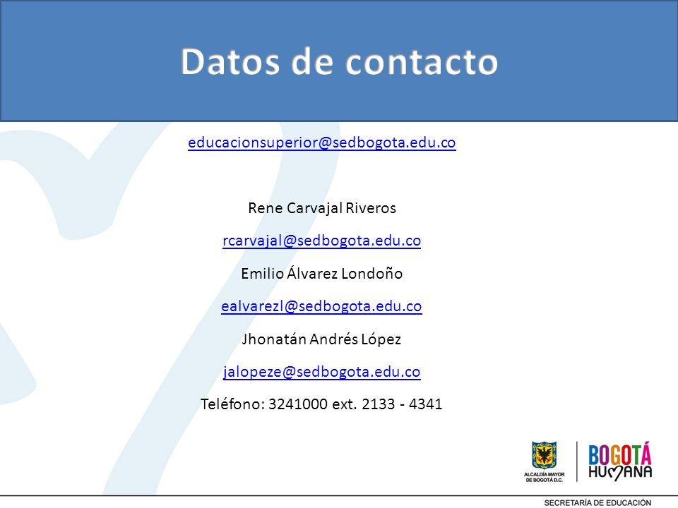 educacionsuperior@sedbogota.edu.co Rene Carvajal Riveros rcarvajal@sedbogota.edu.co Emilio Álvarez Londoño ealvarezl@sedbogota.edu.co Jhonatán Andrés