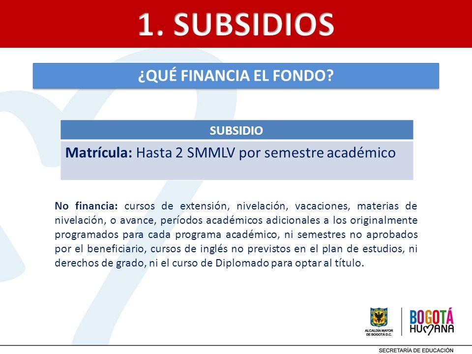 SUBSIDIO Matrícula: Hasta 2 SMMLV por semestre académico ¿QUÉ FINANCIA EL FONDO? No financia: cursos de extensión, nivelación, vacaciones, materias de