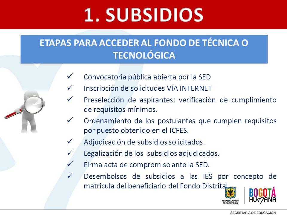 ETAPAS PARA ACCEDER AL FONDO DE TÉCNICA O TECNOLÓGICA Convocatoria pública abierta por la SED Inscripción de solicitudes VÍA INTERNET Preselección de