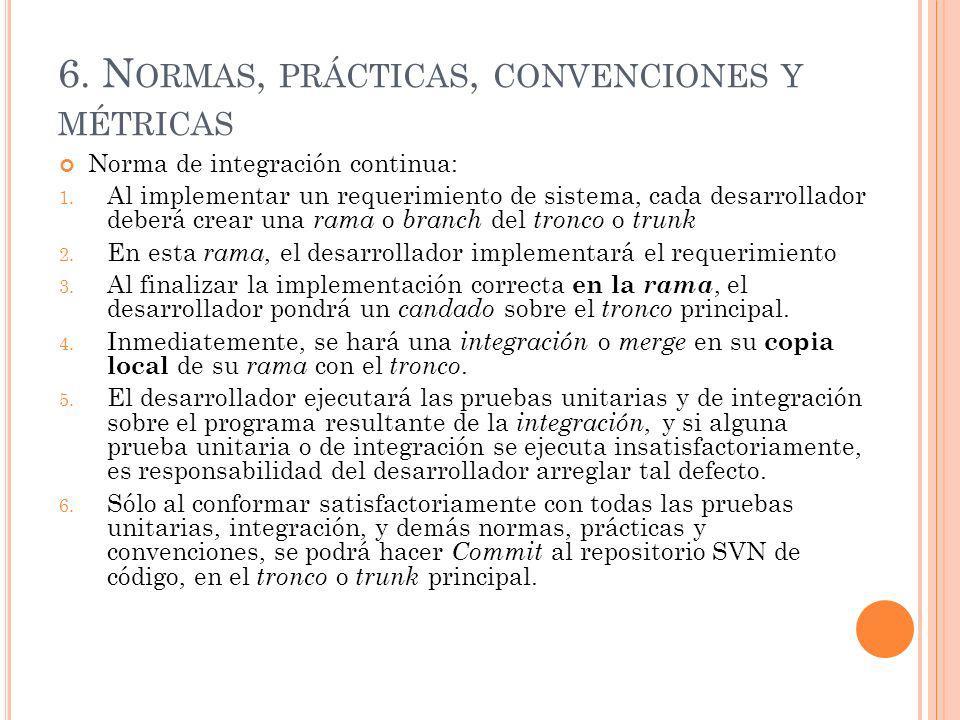 6. N ORMAS, PRÁCTICAS, CONVENCIONES Y MÉTRICAS Norma de integración continua: 1. Al implementar un requerimiento de sistema, cada desarrollador deberá
