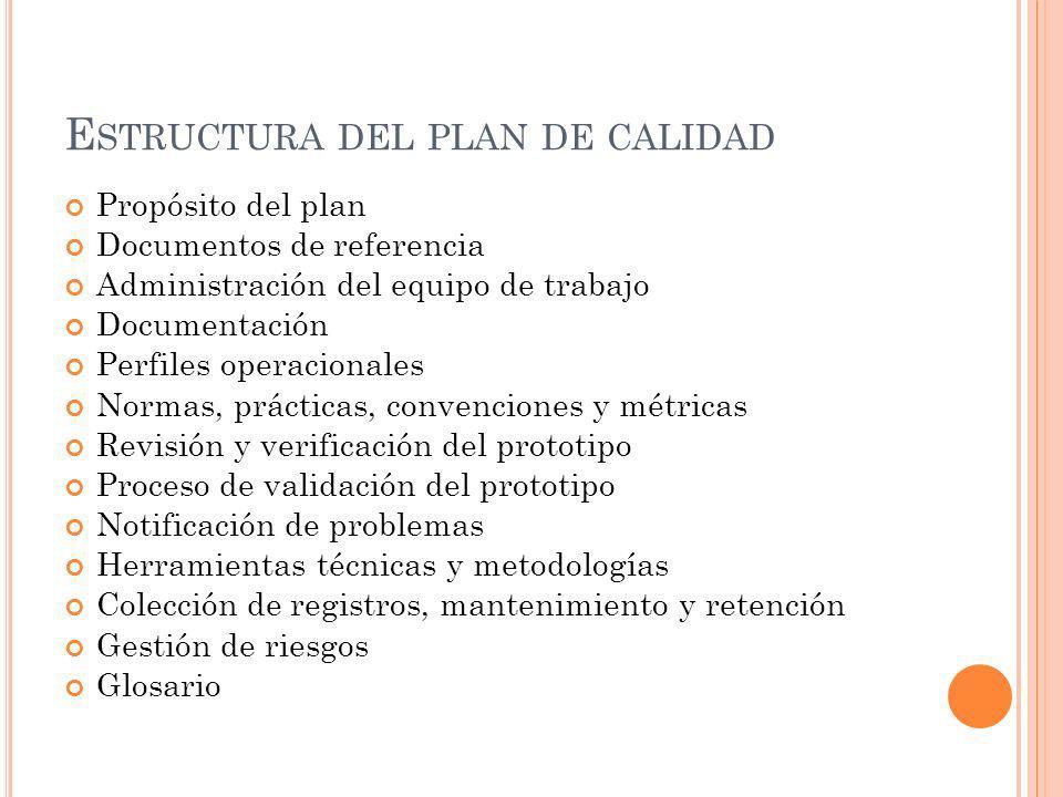 E STRUCTURA DEL PLAN DE CALIDAD Propósito del plan Documentos de referencia Administración del equipo de trabajo Documentación Perfiles operacionales