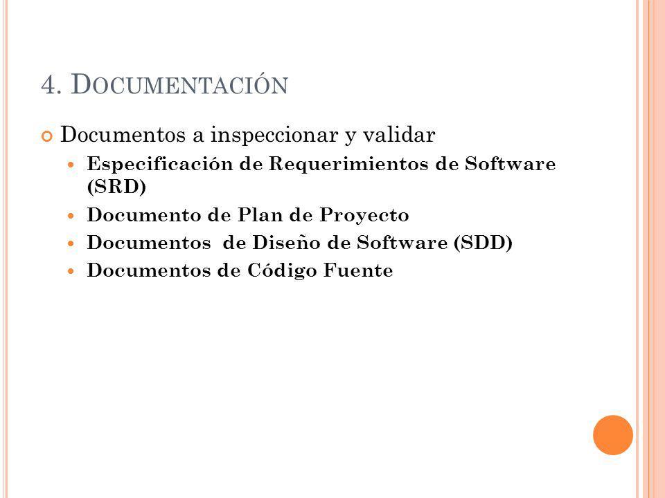 4. D OCUMENTACIÓN Documentos a inspeccionar y validar Especificación de Requerimientos de Software (SRD) Documento de Plan de Proyecto Documentos de D