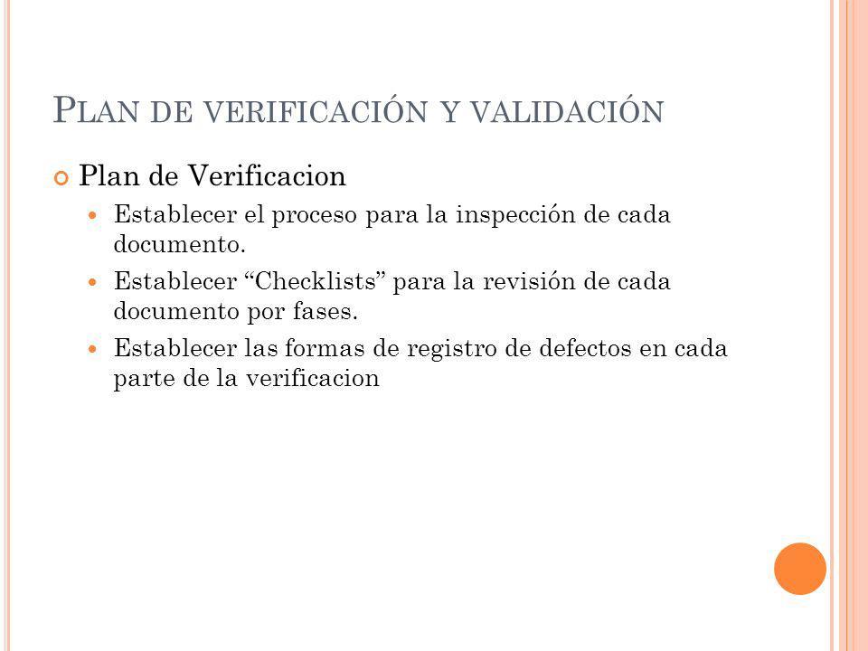 P LAN DE VERIFICACIÓN Y VALIDACIÓN Plan de Verificacion Establecer el proceso para la inspección de cada documento. Establecer Checklists para la revi
