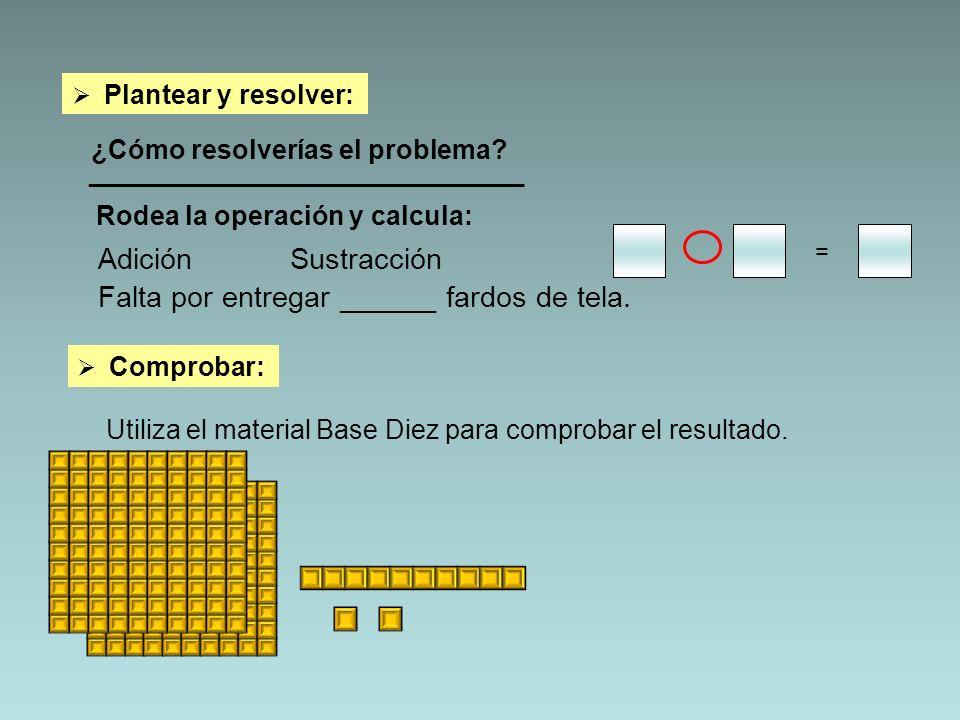 Plantear y resolver: ¿Cómo resolverías el problema? _________________________________ AdiciónSustracción = Falta por entregar ______ fardos de tela. C