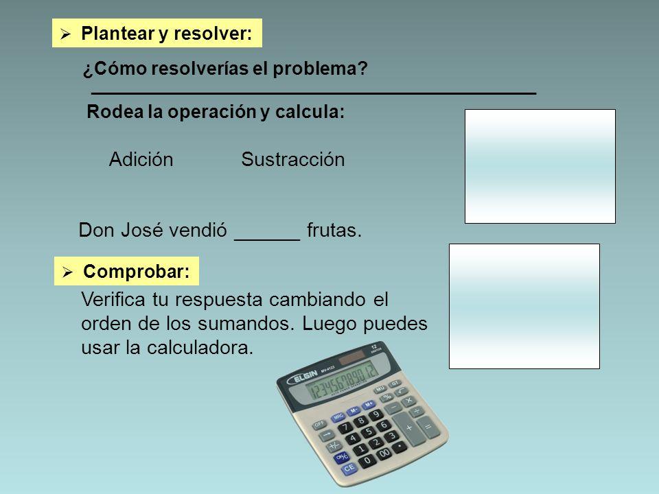 Plantear y resolver: ¿Cómo resolverías el problema? _________________________________________________ AdiciónSustracción Don José vendió ______ frutas