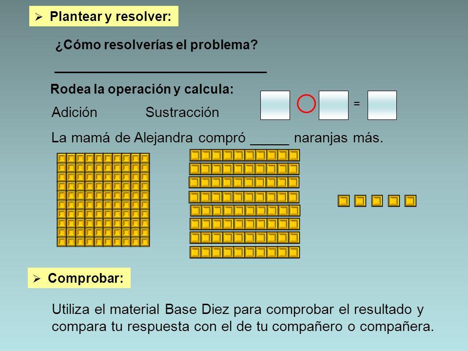 ¿Cómo resolverías el problema? _________________________________ = Rodea la operación y calcula: AdiciónSustracción Comprobar: Utiliza el material Bas