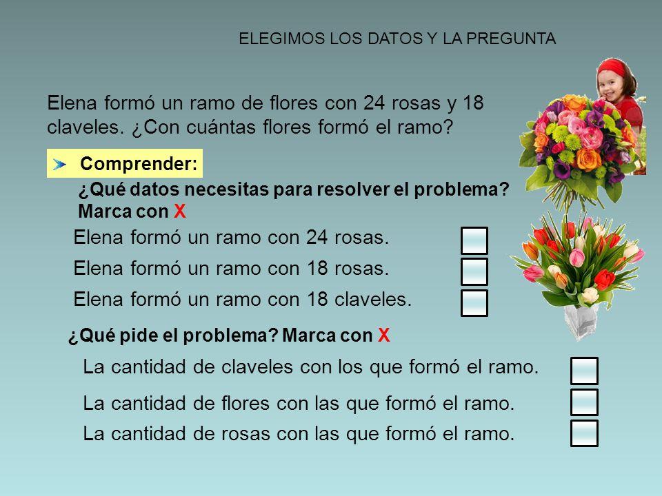 ELEGIMOS LOS DATOS Y LA PREGUNTA ¿Qué datos necesitas para resolver el problema? Marca con X Comprender: Elena formó un ramo de flores con 24 rosas y