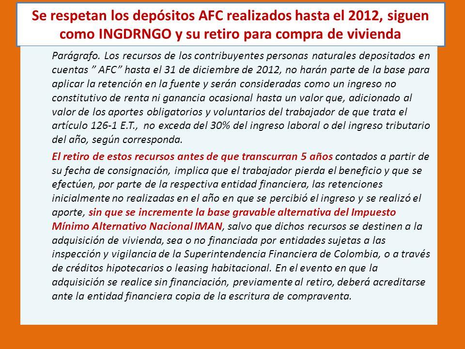 Se respetan los depósitos AFC realizados hasta el 2012, siguen como INGDRNGO y su retiro para compra de vivienda Parágrafo.