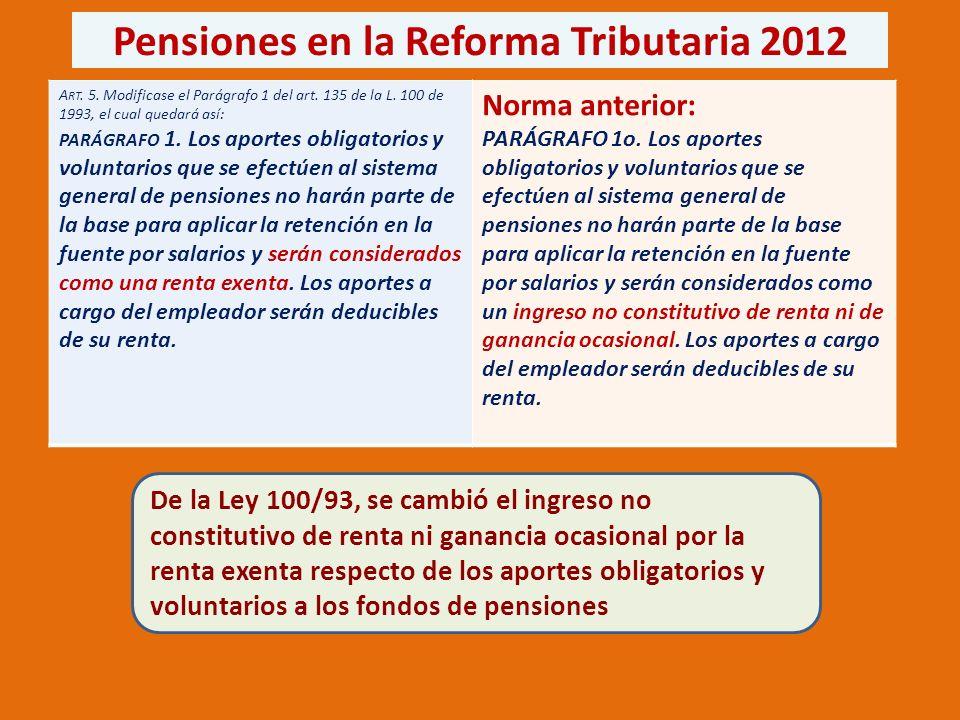 Pensiones en la Reforma Tributaria 2012 A RT. 5. Modificase el Parágrafo 1 del art.