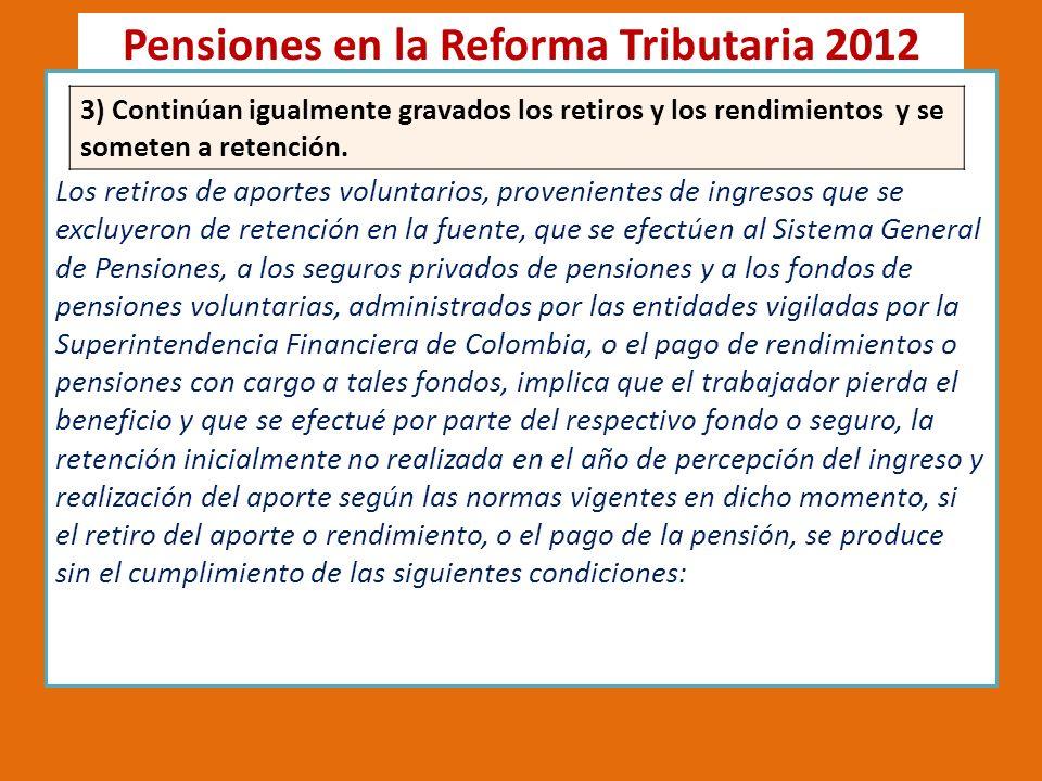 Pensiones en la Reforma Tributaria 2012 4) Se condiciona la permanencia a 10 años tanto para pensiones como para compra de vivienda, pero se pueden retirar para adquirirla.