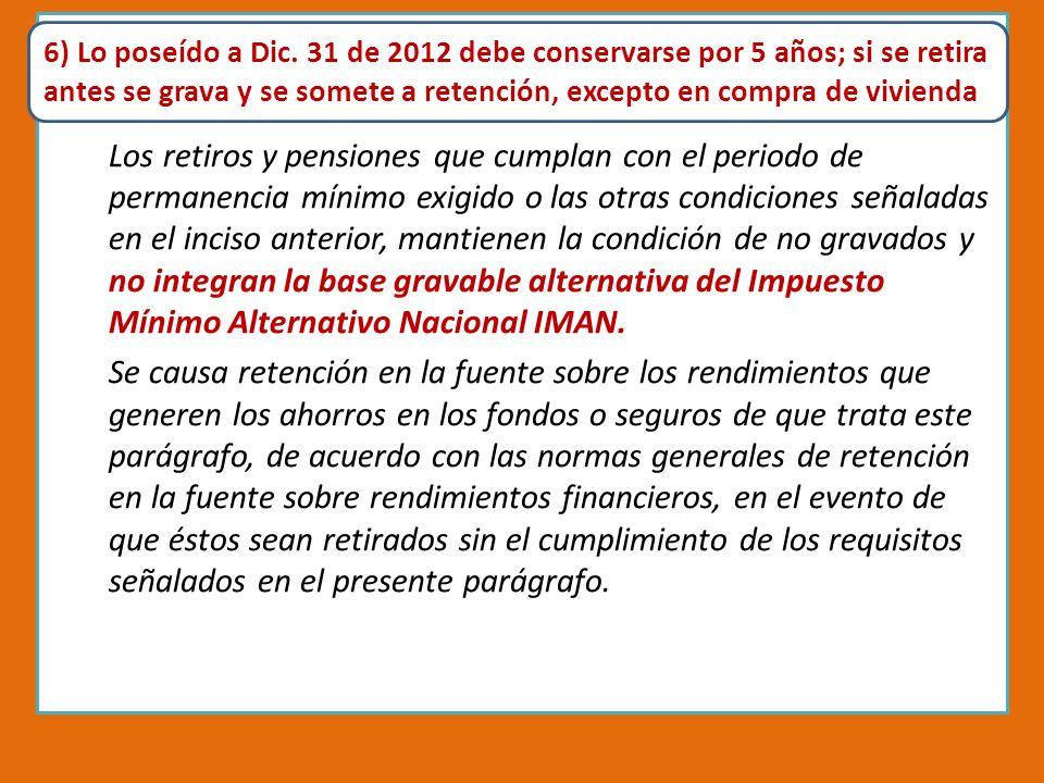 Pensiones en la Reforma Tributaria 2012 A RT.4. Modificase el art.