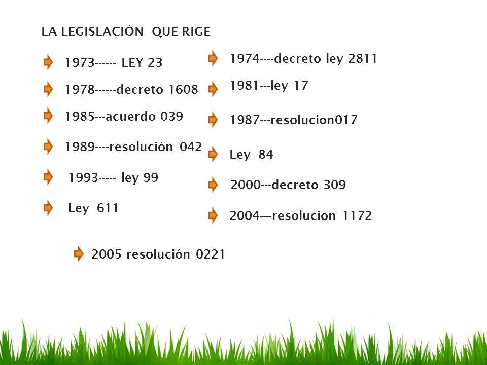 1973------ LEY 23 1974----decreto ley 2811 LA LEGISLACIÓN QUE RIGE 1978------decreto 1608 1981---ley 17 1985---acuerdo 039 1987---resolucion017 1989--