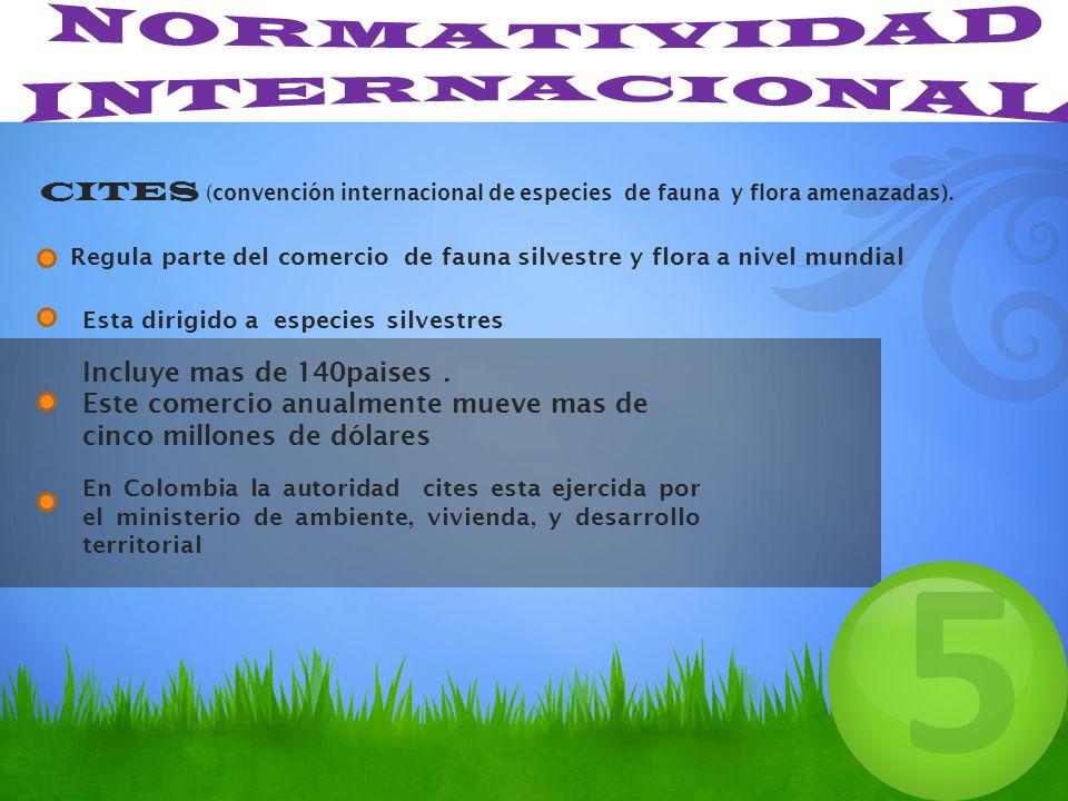 CITES (convención internacional de especies de fauna y flora amenazadas). Regula parte del comercio de fauna silvestre y flora a nivel mundial 5 Esta