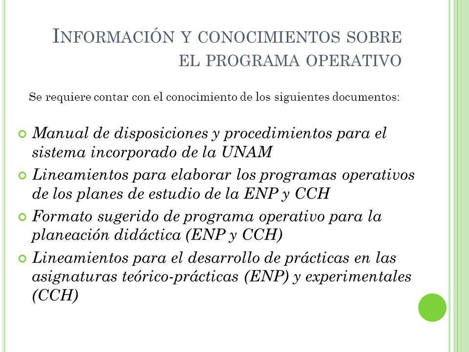 I NFORMACIÓN Y CONOCIMIENTOS SOBRE EL PROGRAMA OPERATIVO Manual de disposiciones y procedimientos para el sistema incorporado de la UNAM Lineamientos