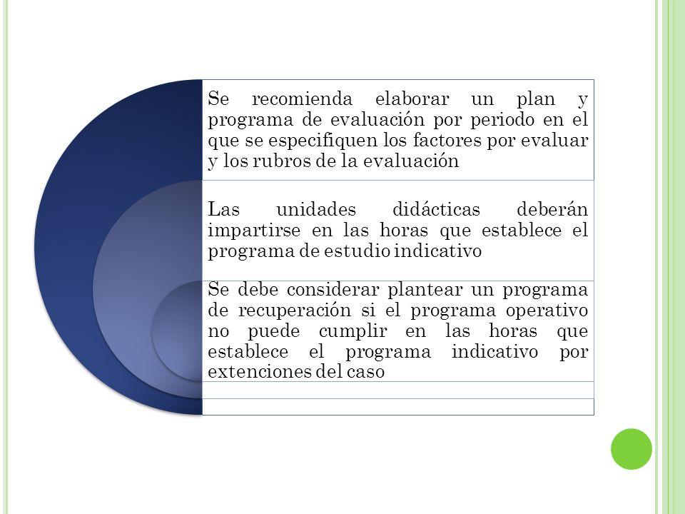 Se recomienda elaborar un plan y programa de evaluación por periodo en el que se especifiquen los factores por evaluar y los rubros de la evaluación L