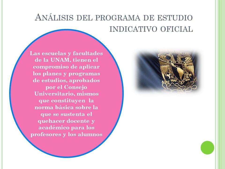A NÁLISIS DEL PROGRAMA DE ESTUDIO INDICATIVO OFICIAL Las escuelas y facultades de la UNAM, tienen el compromiso de aplicar los planes y programas de e