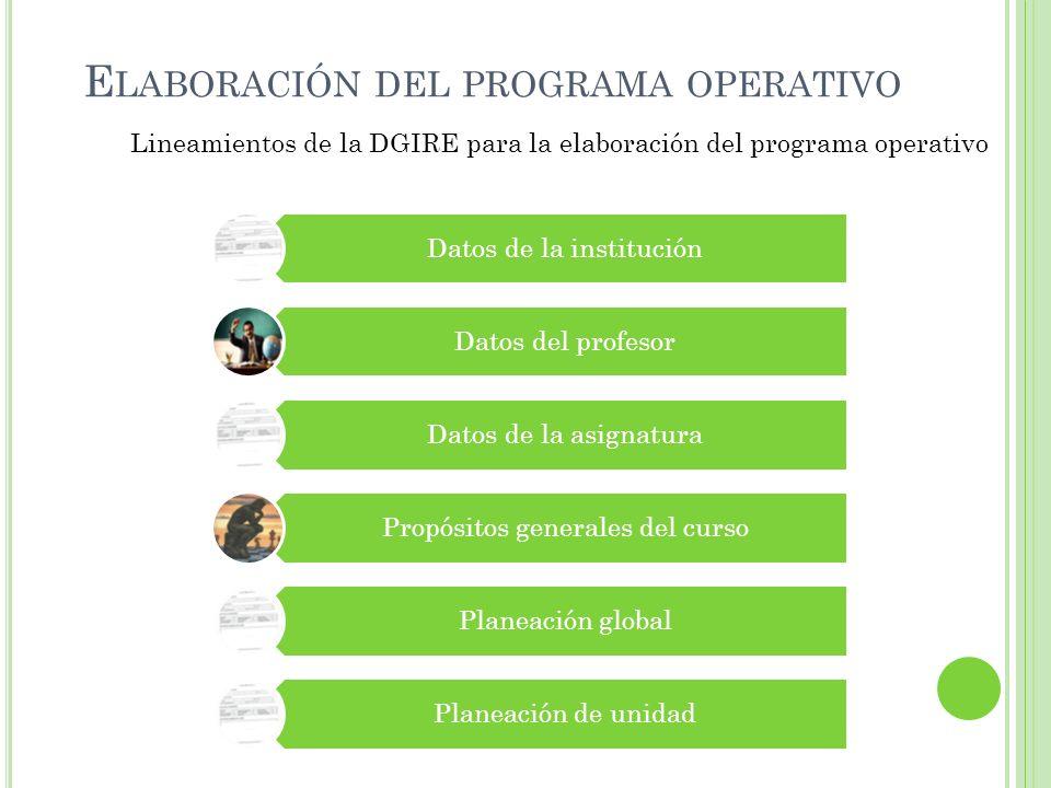 E LABORACIÓN DEL PROGRAMA OPERATIVO Lineamientos de la DGIRE para la elaboración del programa operativo Datos de la institución Datos del profesor Dat