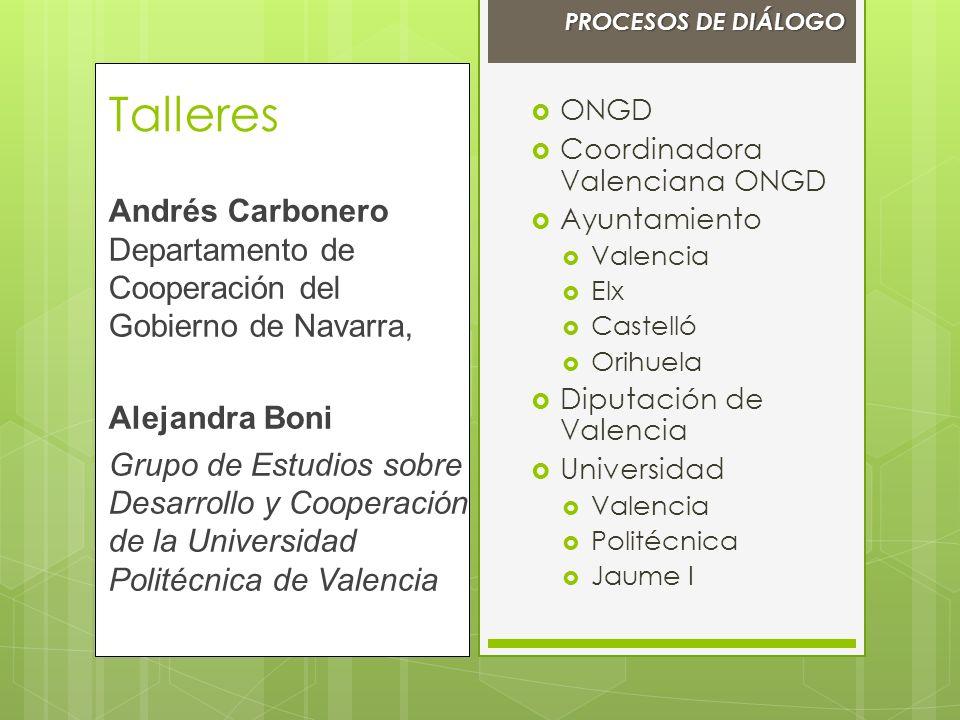 ONGD Coordinadora Valenciana ONGD Ayuntamiento Valencia Elx Castelló Orihuela Diputación de Valencia Universidad Valencia Politécnica Jaume I Talleres
