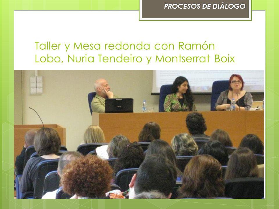 Taller y Mesa redonda con Ramón Lobo, Nuria Tendeiro y Montserrat Boix PROCESOS DE DIÁLOGOPROCESOS DE DIÁLOGO