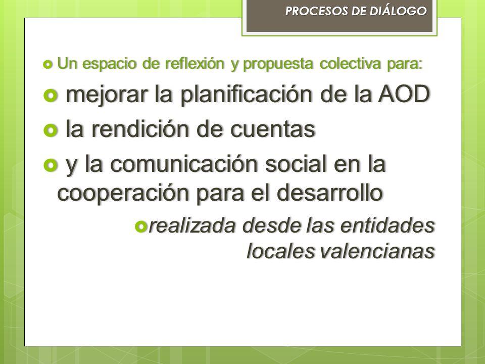 Un espacio de reflexión y propuesta colectiva para: Un espacio de reflexión y propuesta colectiva para: mejorar la planificación de la AOD mejorar la