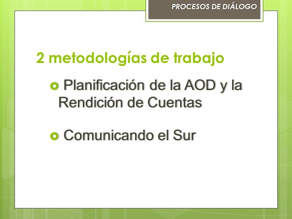 2 metodologías de trabajo PROCESOS DE DIÁLOGOPROCESOS DE DIÁLOGO Planificación de la AOD y la Rendición de Cuentas Planificación de la AOD y la Rendic
