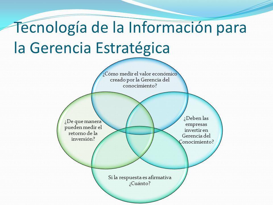 Tecnología de la Información para la Gerencia Estratégica ¿Cómo medir el valor económico creado por la Gerencia del conocimiento.