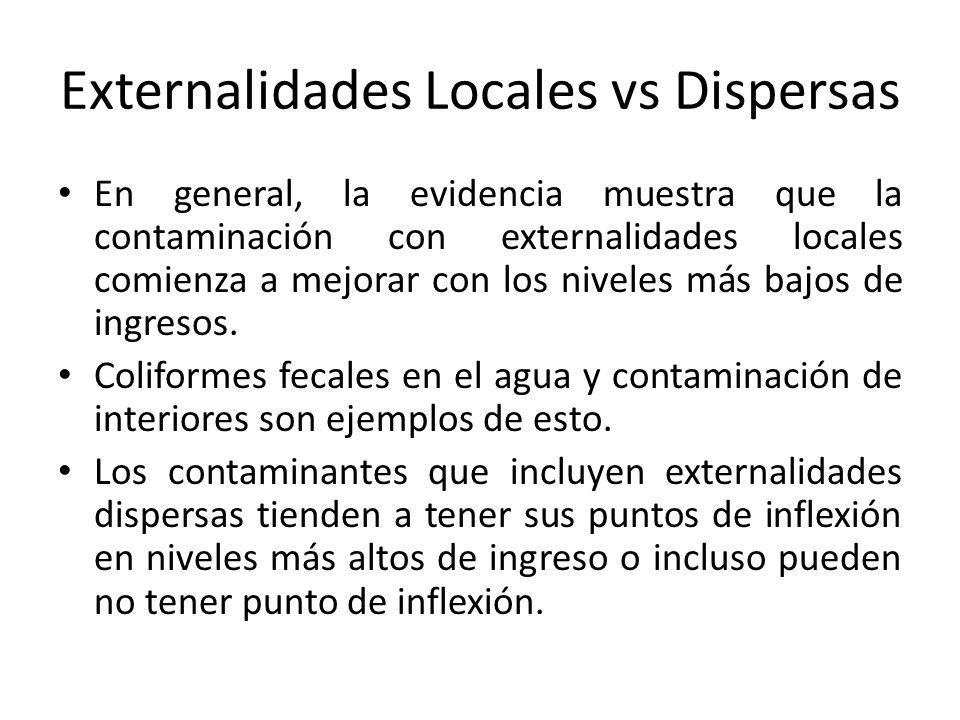 Externalidades Locales vs Dispersas En general, la evidencia muestra que la contaminación con externalidades locales comienza a mejorar con los niveles más bajos de ingresos.