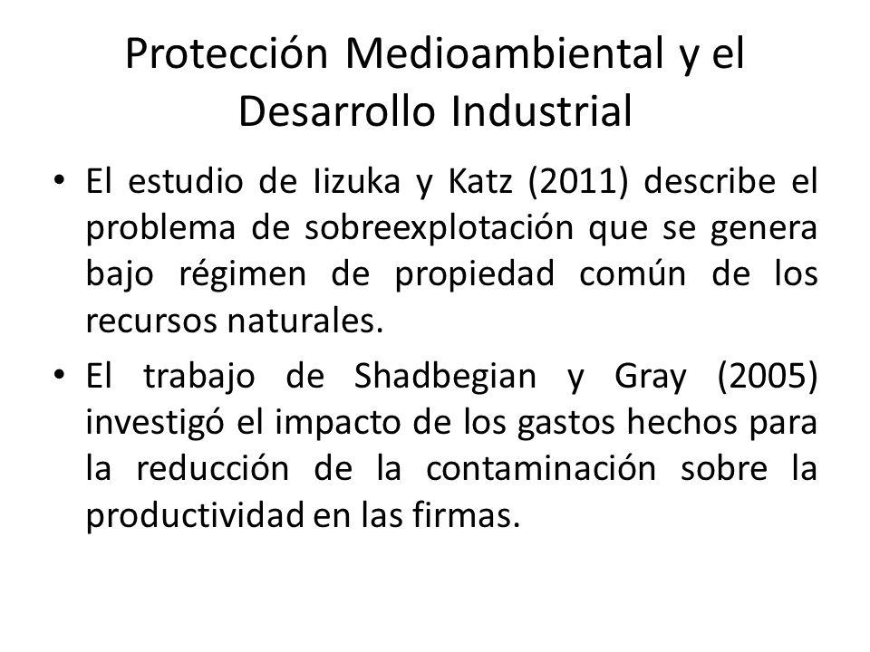 Protección Medioambiental y el Desarrollo Industrial El estudio de Iizuka y Katz (2011) describe el problema de sobreexplotación que se genera bajo régimen de propiedad común de los recursos naturales.