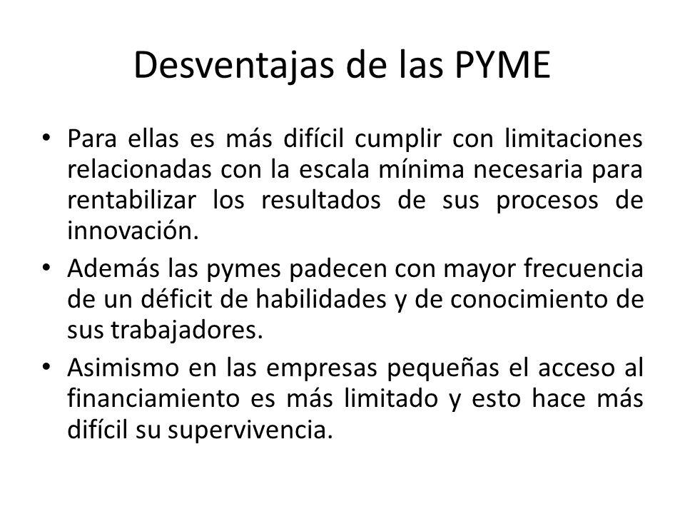 Desventajas de las PYME Para ellas es más difícil cumplir con limitaciones relacionadas con la escala mínima necesaria para rentabilizar los resultados de sus procesos de innovación.