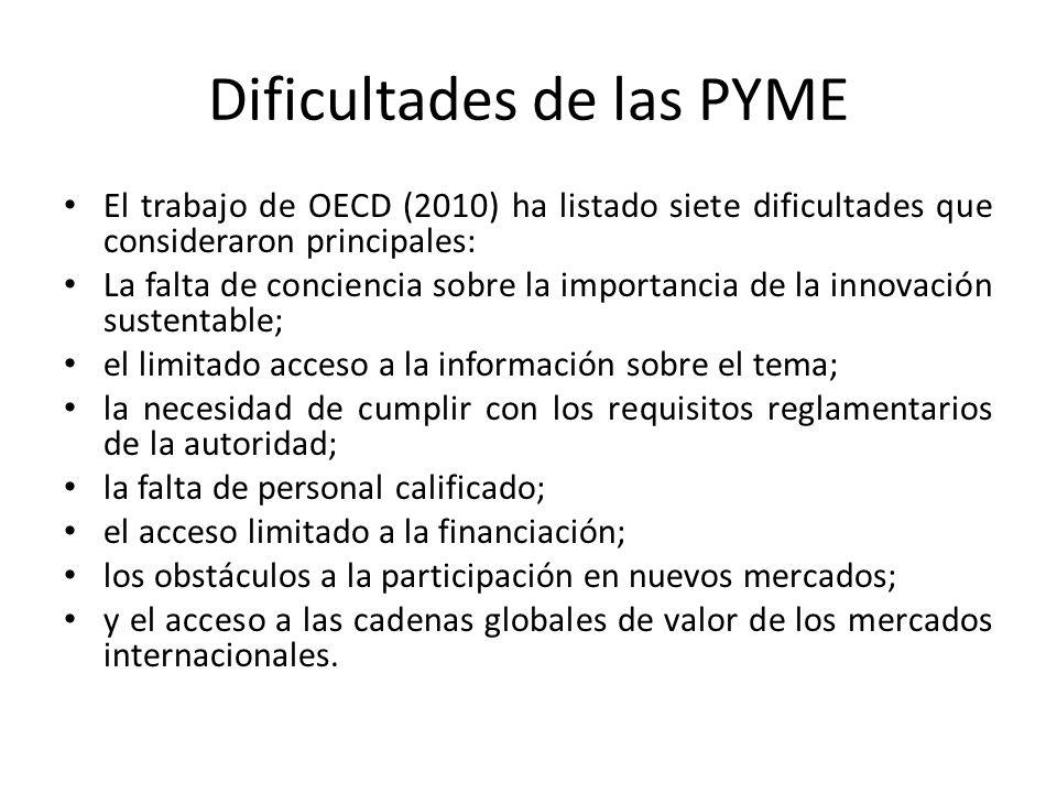 Dificultades de las PYME El trabajo de OECD (2010) ha listado siete dificultades que consideraron principales: La falta de conciencia sobre la importancia de la innovación sustentable; el limitado acceso a la información sobre el tema; la necesidad de cumplir con los requisitos reglamentarios de la autoridad; la falta de personal calificado; el acceso limitado a la financiación; los obstáculos a la participación en nuevos mercados; y el acceso a las cadenas globales de valor de los mercados internacionales.
