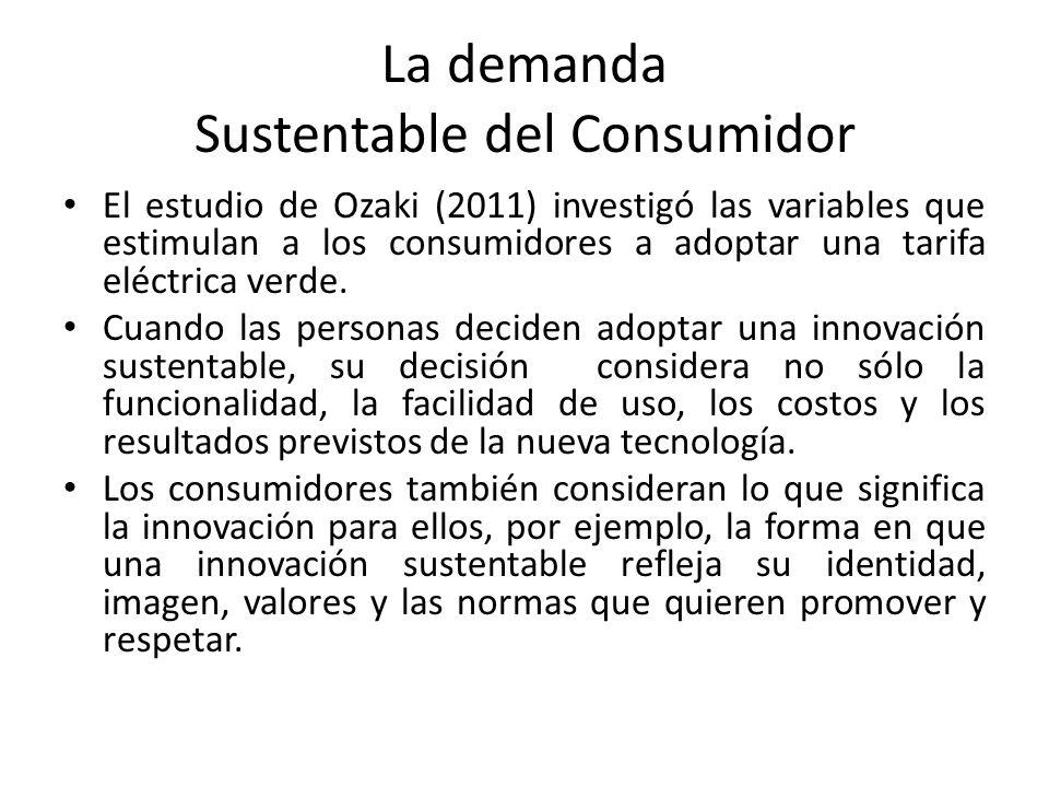 La demanda Sustentable del Consumidor El estudio de Ozaki (2011) investigó las variables que estimulan a los consumidores a adoptar una tarifa eléctrica verde.