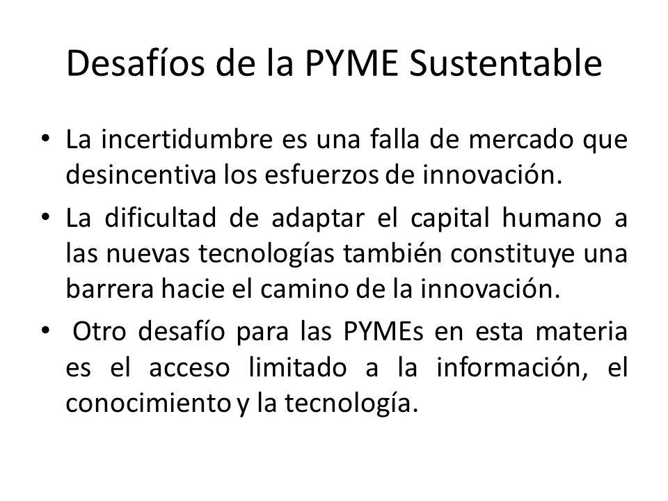 Desafíos de la PYME Sustentable La incertidumbre es una falla de mercado que desincentiva los esfuerzos de innovación.