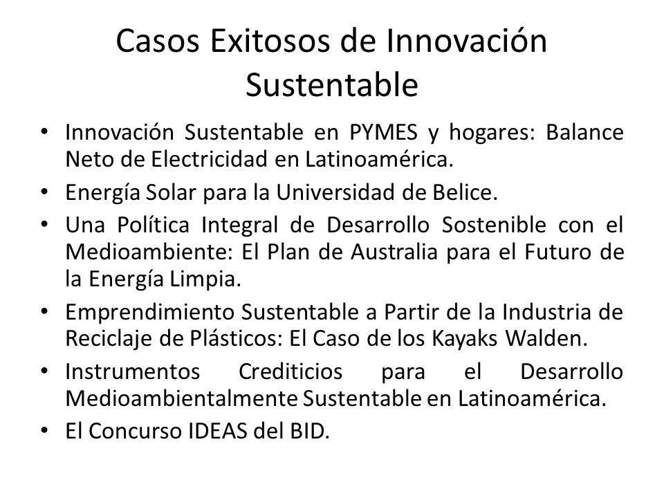 Casos Exitosos de Innovación Sustentable Innovación Sustentable en PYMES y hogares: Balance Neto de Electricidad en Latinoamérica.